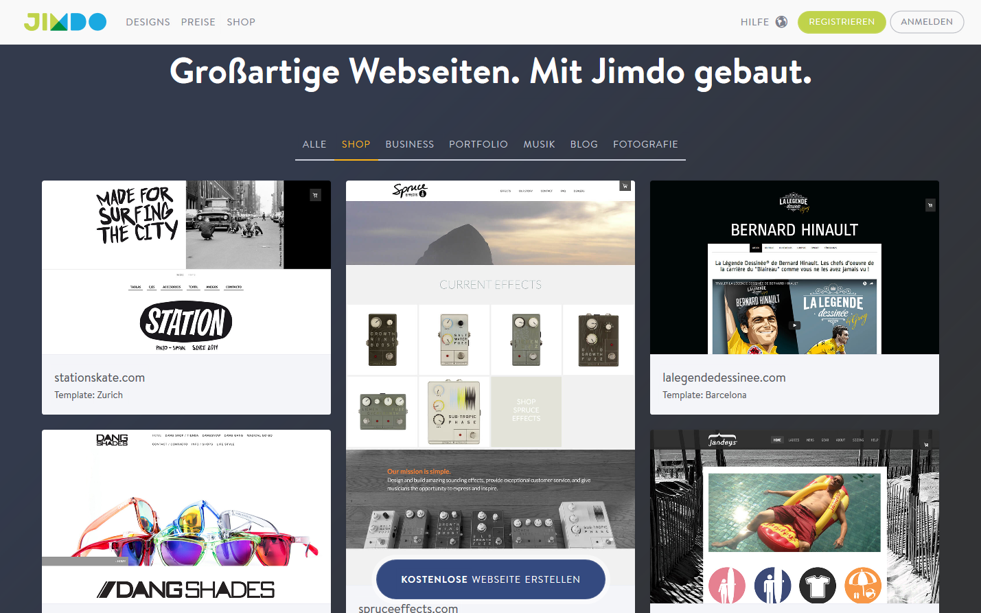 Jimdo shop beispiele for Homepage shop